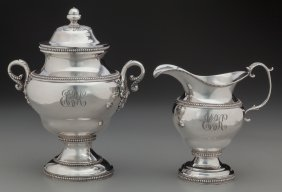 An Edward Lownes Coin Silver Sugar And Creamer S