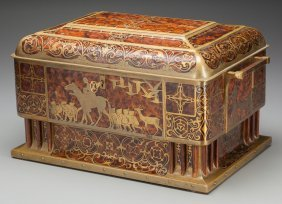An Austrian Burled Walnut And Boulle Jewel Chest