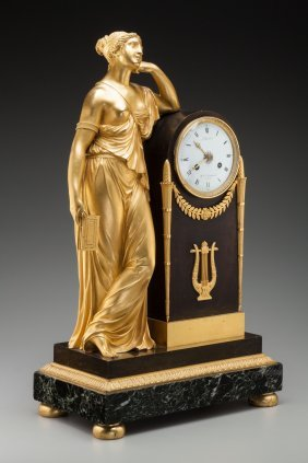 A French Empire Gilt Bronze Mantel Clock, Circa
