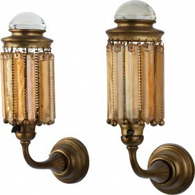 A Pair Of Gilt Metal Sconces With Tiffany Studio