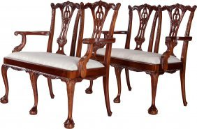 A Pair Of Chippendale-style Upholstered And Carv
