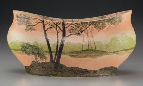 A Legras Enameled Glass Landscape Bowl, Late 19t