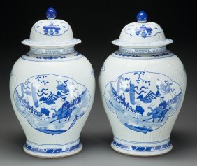 Pair Of Chinese Blue And White Porcelain Ginger