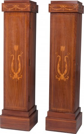 A Pair Of Adam-style Mahogany And Satinwood Inla