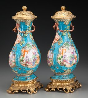 A Pair Of Chinese Export Porcelain Vases With Gi