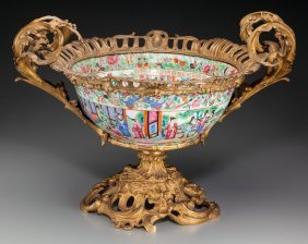 A Chinese Rose Canton Porcelain And Gilt Bronze