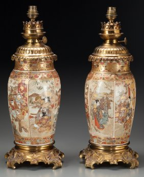 A Pair Of Japanese Satsuma Porcelain Vases Mount
