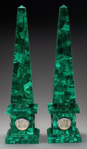 A Pair Of Malachite Veneered Obelisks With Micro