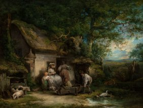 George Morland (british, 1763-1804) Happy Cottag