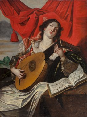 After Abraham Janssens Woman With A Lute Oil On