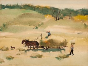 Paul Sample (american, 1896-1974) Haying Waterco
