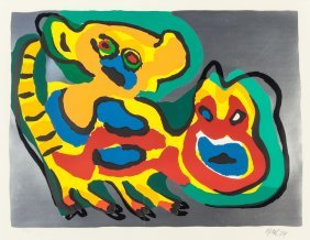 Karel Appel (dutch, 1921-2006) Untitled And Anim