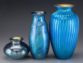 Three Lundberg Studio Iridescent Blue Glass Vase
