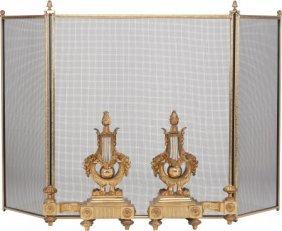 A Pair Of Louis Xvi-style Gilt Bronze Chenets An