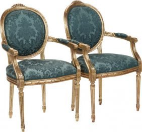 A Pair Of Louis Xiv-style Giltwood Fauteuils, 20