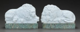 A Pair Of Neoclassical Carrera Marble Lions, 19t