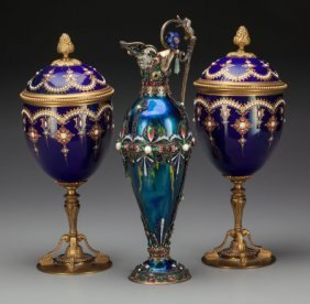 An Austrian Silver And Enameled Ewer With Two Br
