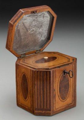 A George Iii Satinwood Inlay Octagonal Tea Caddy