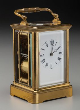 A French Brass And Glass Carriage Clock, 19th Ce