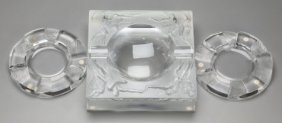 Three Lalique Clear And Frosted Glass Ashtrays,