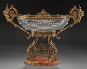 A French Cut-glass Center Bowl With Gilt Bronze