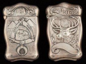 Two Webster Silver Lodge Motif Match Safes, Nort