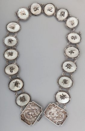 A Chinese Export Silver And Mother-of-pearl Belt