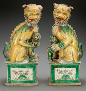 A Pair Of Chinese Kangxi-style Famille Verte Foo