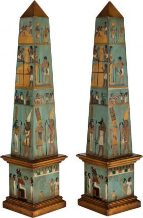 A Pair Of Polychrome Wood Obelisks With Egyptian