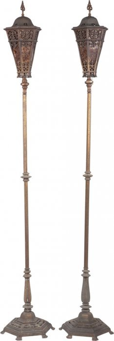 A Pair Of Gothic Revival Iron, Gilt Metal And Ei