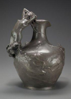 An Art Nouveau Metal Figural Ewer After Auguste