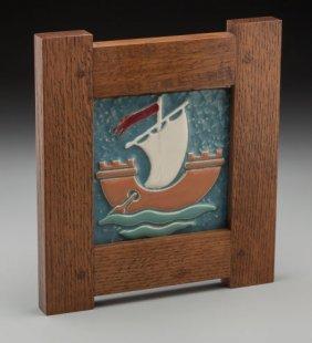 A Framed Ceramic Sailboat Tile In The Manner Of
