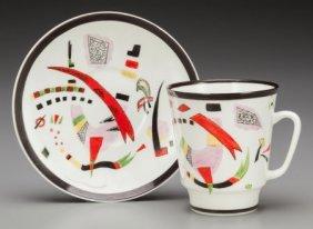 A Wassily Kandinsky Glazed Porcelain Cup And Sau