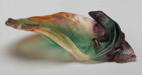 A Daum Pate-de-verre Glass Salamander Vide Poche