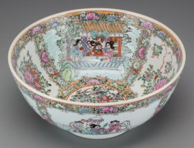 A Chinese Rose Canton Enameled Porcelain Bowl Ma