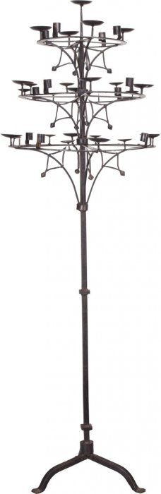 An American Wrought Iron Floor Candelabra After