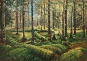 American School (20th Century) Forest Scene Oil