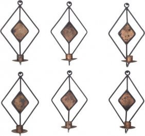 A Set Of Six American Hand-crafted Wrought And G