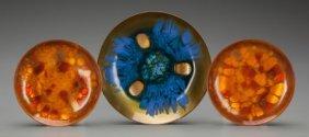 Three Edwards Star Enameled Copper Bowls For Geo