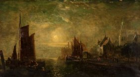Continental School (19th Century) Harbor Scene O