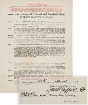 1934 Lou Gehrig Signed New York Yankees Player's