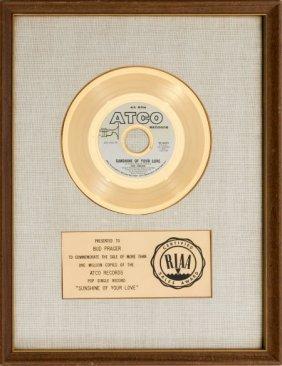"""Cream """"sunshine Of Your Love"""" Riaa Gold Record A"""