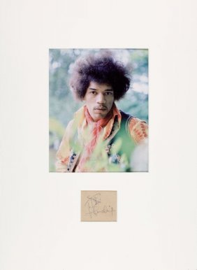"Jimi Hendrix Signature With Photo. A 3.25"" X 3.2"
