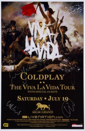 Coldplay Signed Poster Mgm Grand Hotel Las Vegas