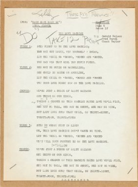 Elvis Presley - A Group Of Elvis' Lyric Cards Fr