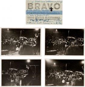 Beatles - Set Of Four Photos/ticket Stub, Munich