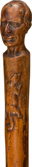 "Henry Clay: Folk Art Racoon Campaign Cane. 35"" H"
