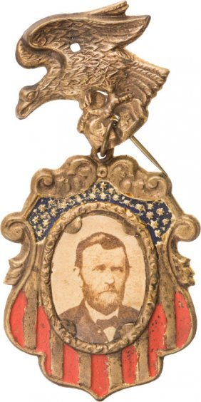 Ulysses S. Grant: Fancy Cardboard Badge. Usg-186