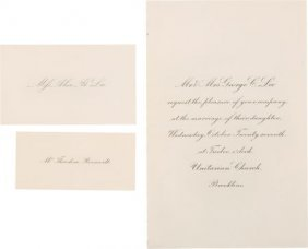 Theodore Roosevelt: Invitation And Place Cards F