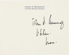 "John F. Kennedy: Signed Senate Card. 4.25"" X 3.5"